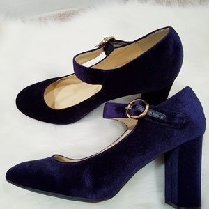 Liz Claiborne Shoes - Navy Blue Velvet Mary Jane Heels
